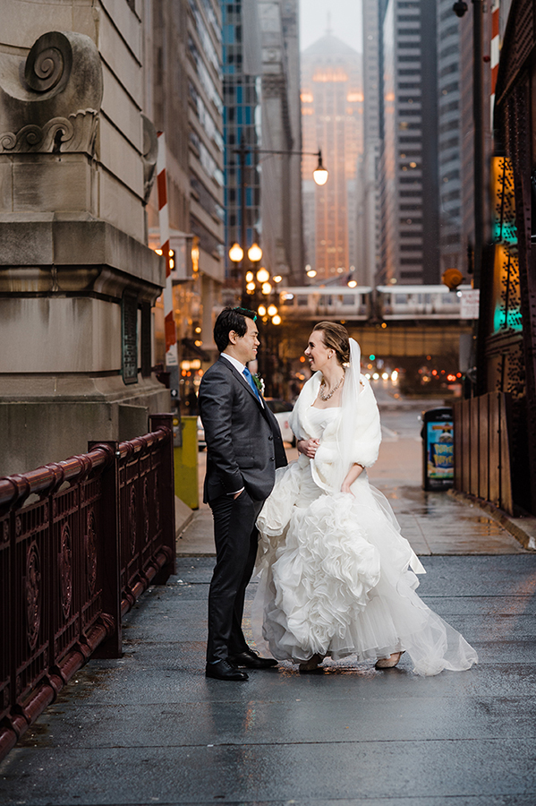 Rainy Chicago Wedding Photo