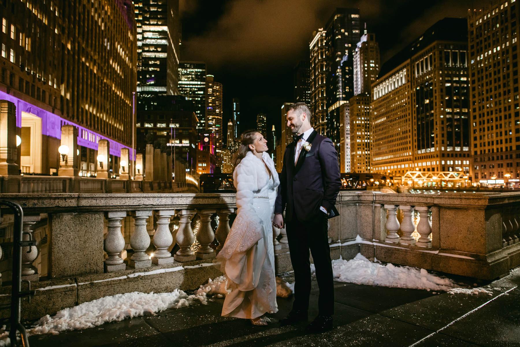 Chicago Riverwalk Night Wedding Photo