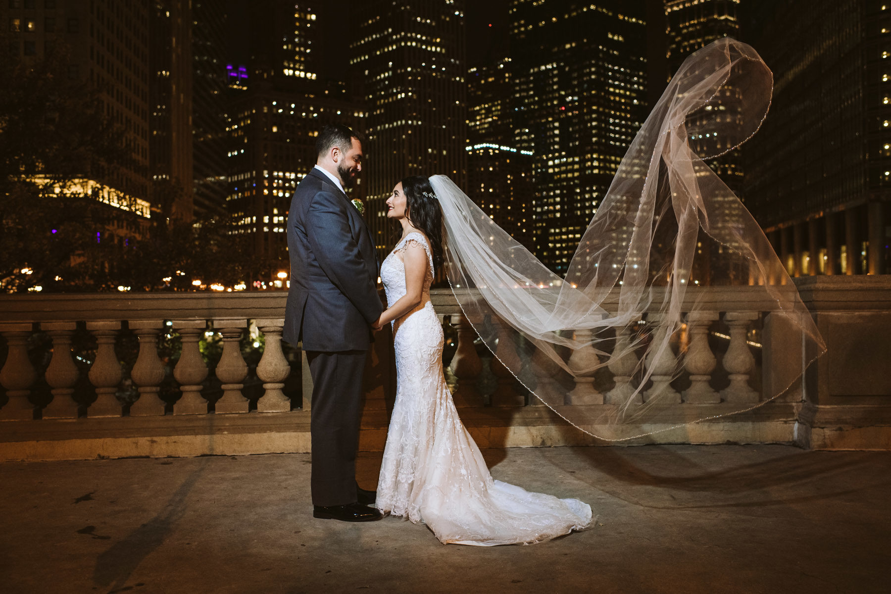 Chicago Night Wedding Photo