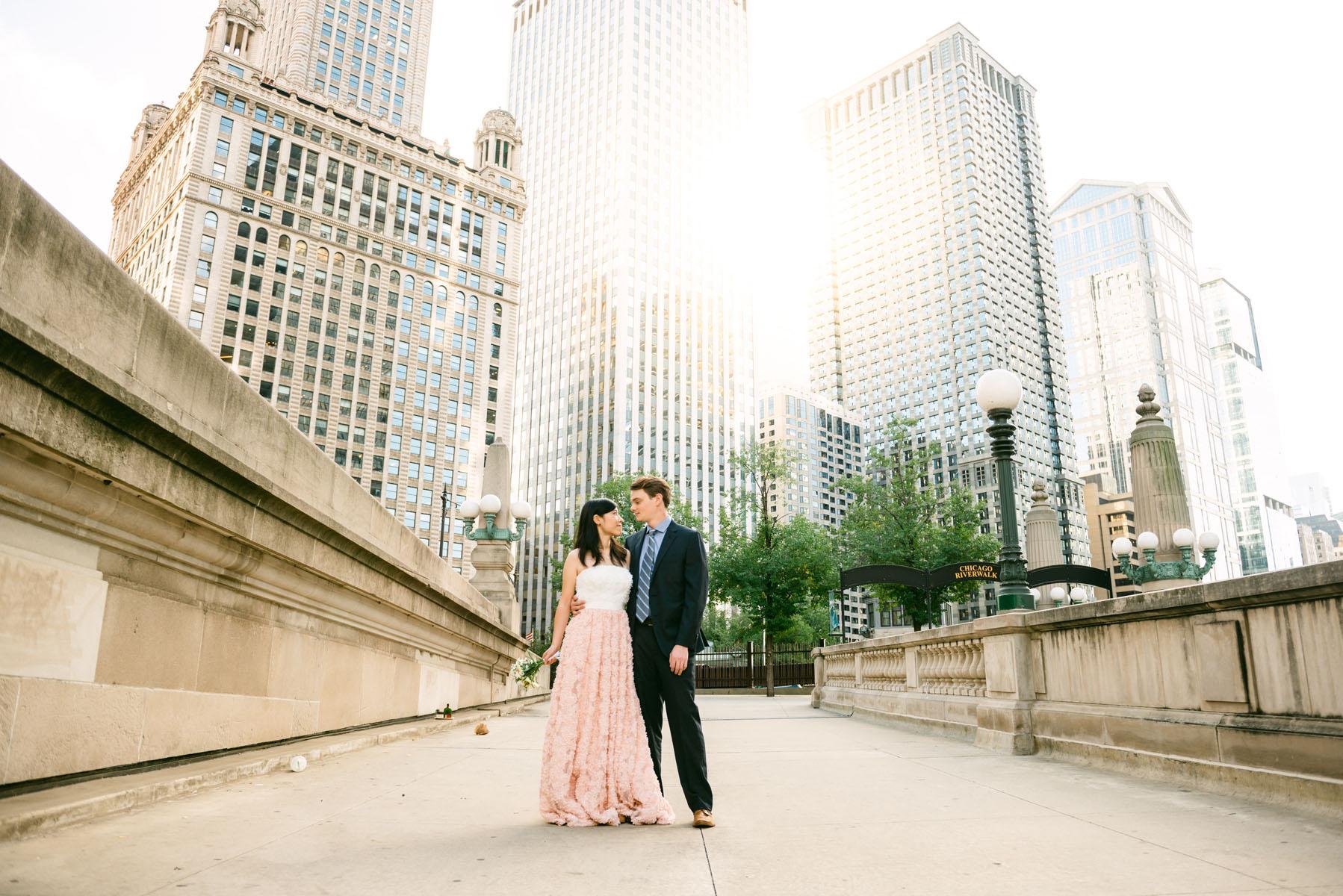 Michigan Avenue Engagement Photo