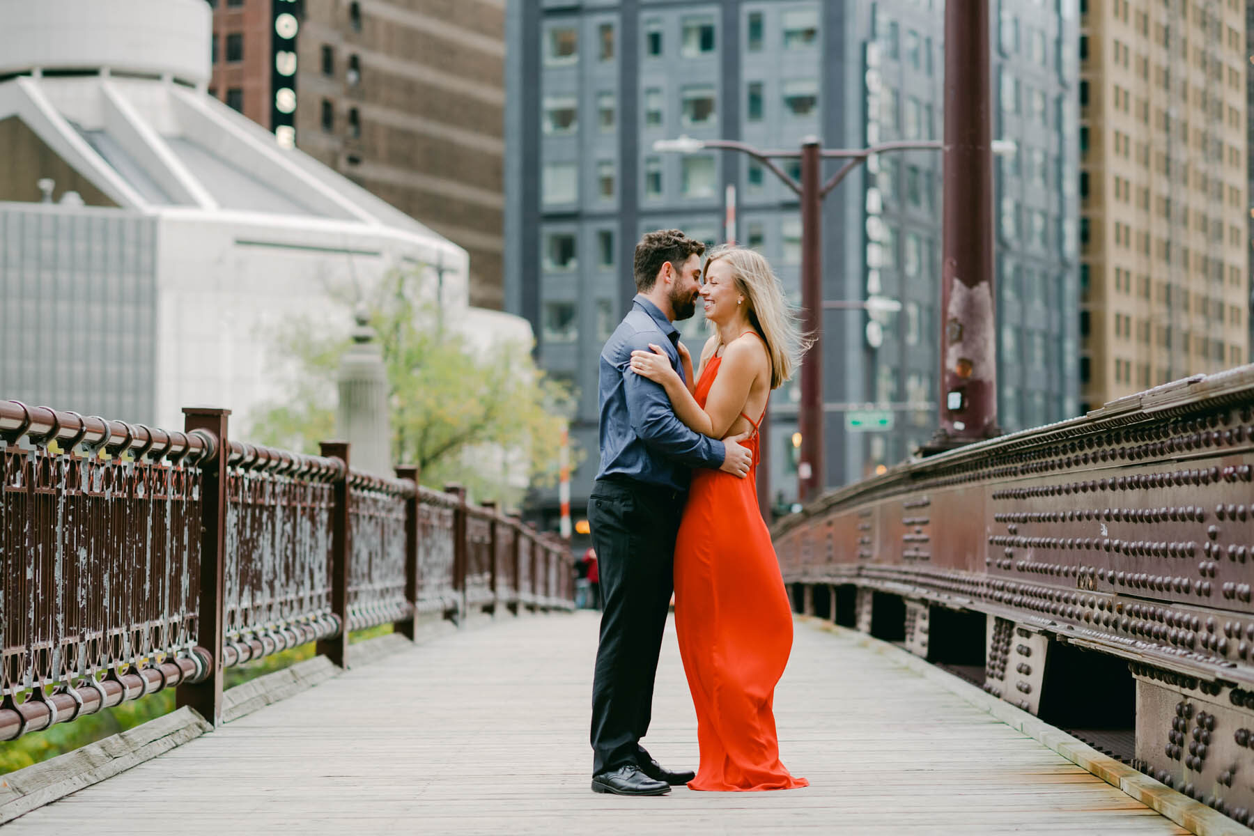 Chicago Bridge Engagement Photo