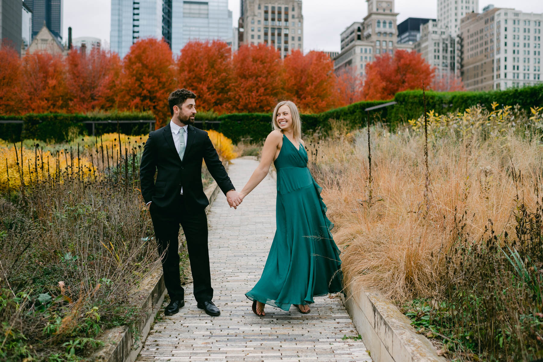 chicago fall colors engagement