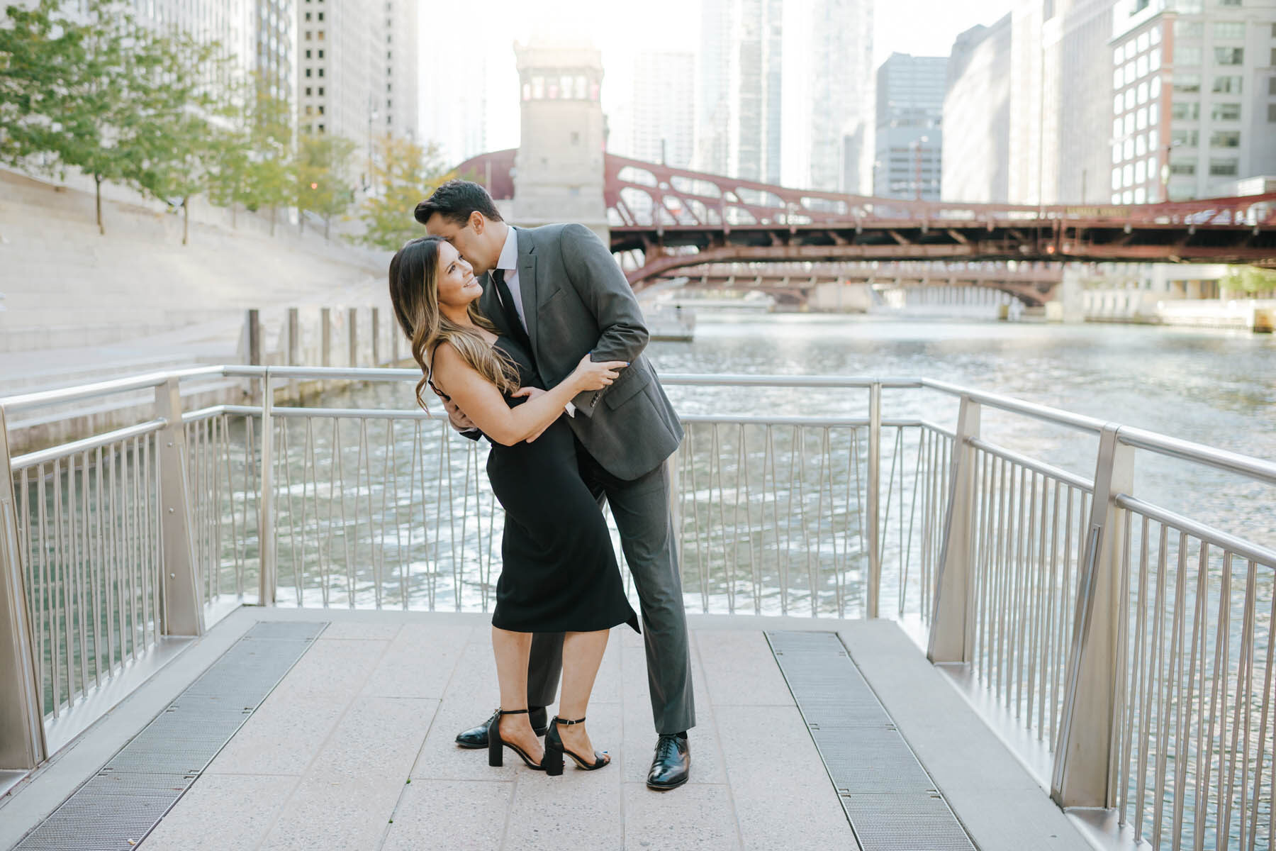 Chicago Riverwalk Engagement Photo