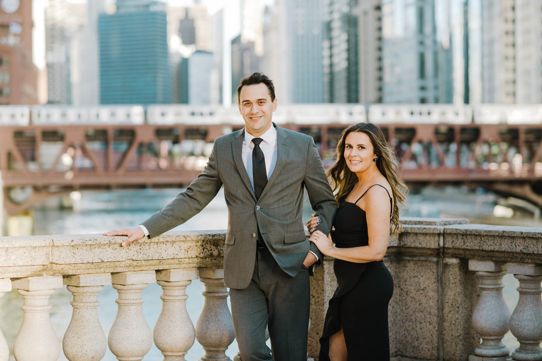 Chicago River Engagement Photo