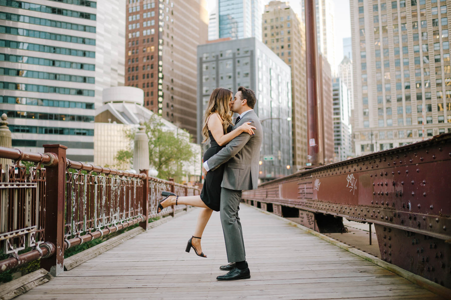 Chicago Bridge Engagement Photo
