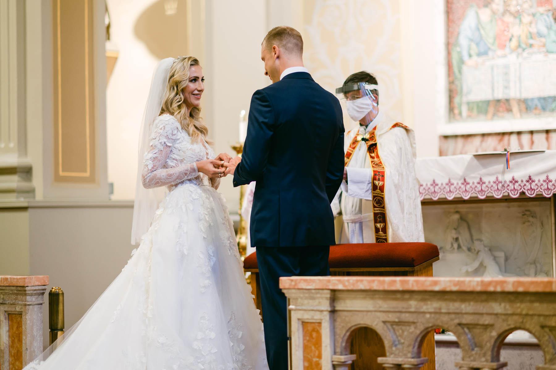 Assumption church bride and groom