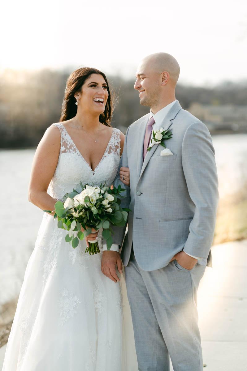 Bride and Groom sunlight