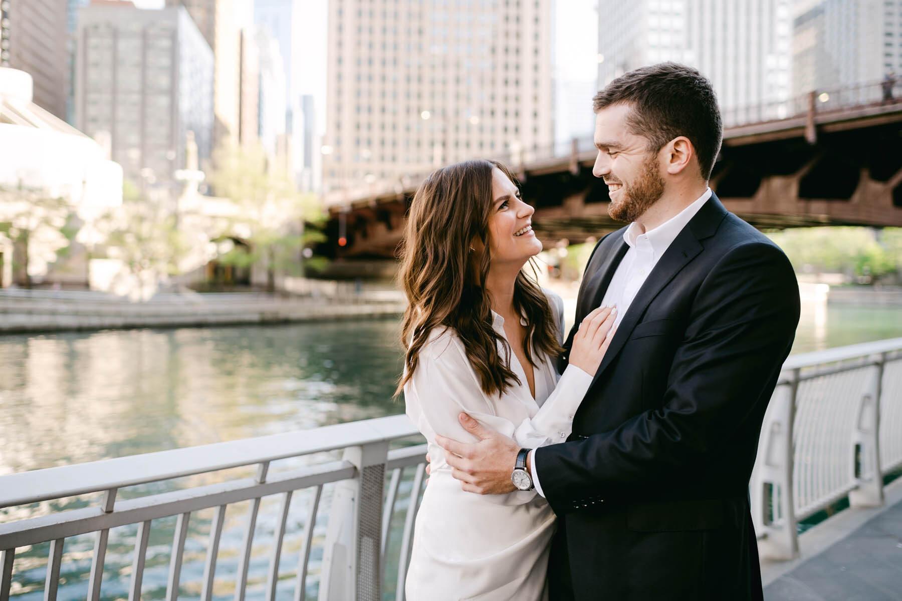 Chicago Riverwalk Engagement Photography