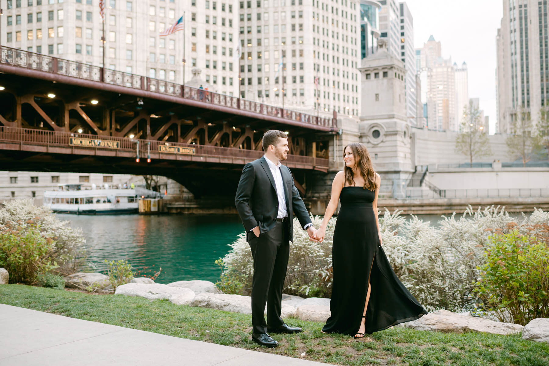 Chicago Riverwalk Engagement Photo