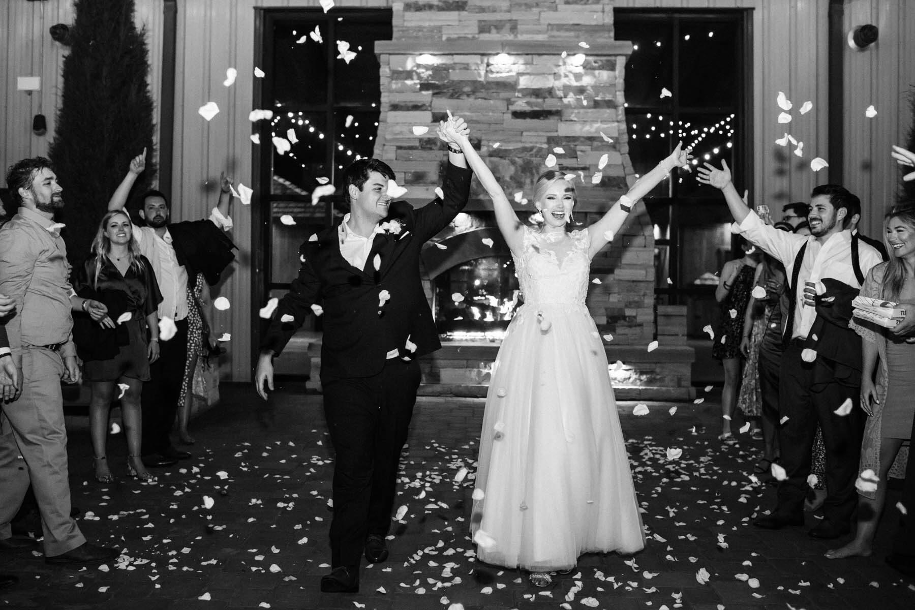 Wedding rose petal exit
