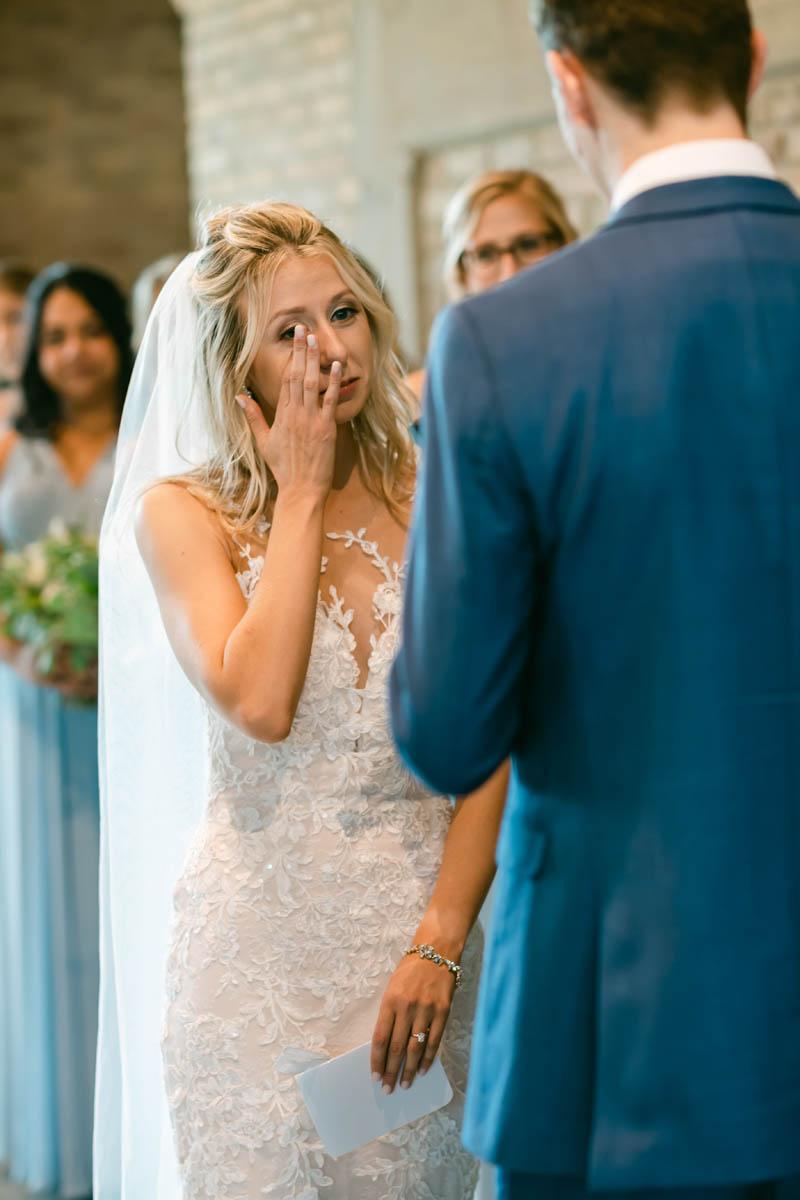 emotional bride wedding ceremony